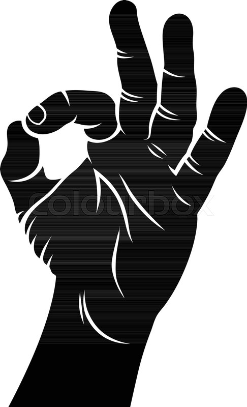 ok hand sign hand drawn sketch vector illustration a hand showing
