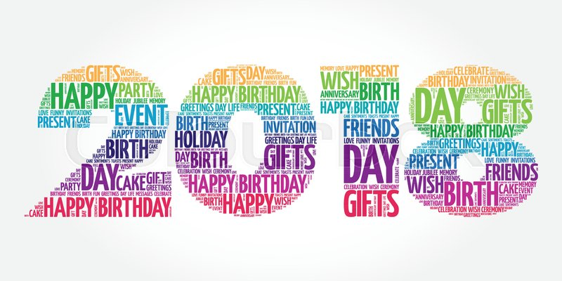 2018 new year happy birthday word cloud collage holiday concept background stock vector colourbox