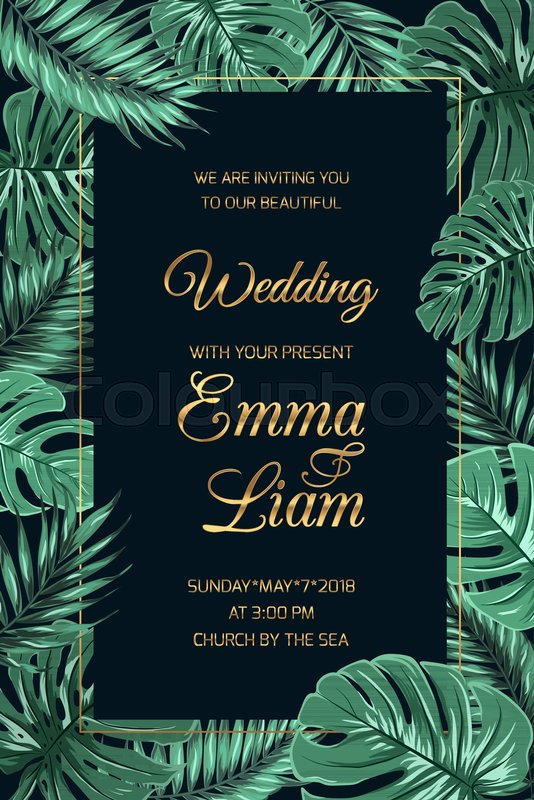 Wedding marriage invitation card ... | Stock Vector ... Tropical Print Background