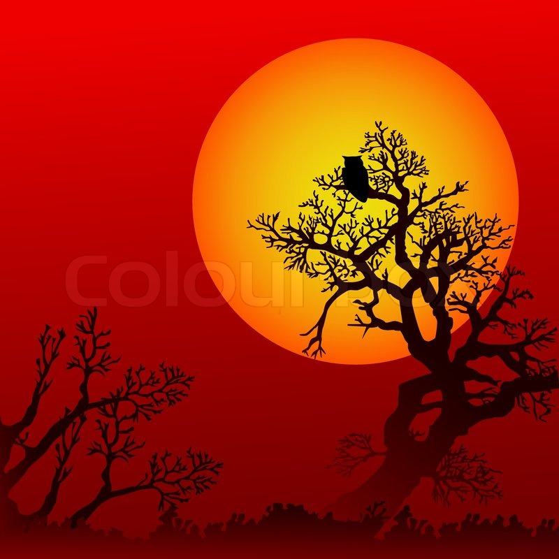 Halloween background with trees, owl and moon | Stock Vector ...