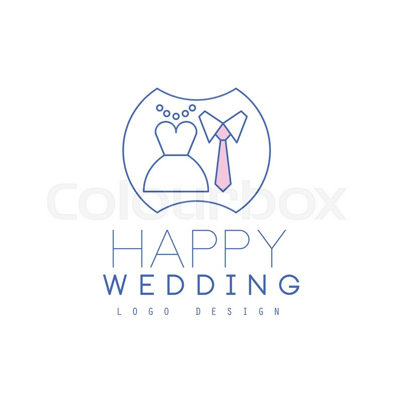 Cute Thin Line Logo Design With White Dress And Tie Badge For