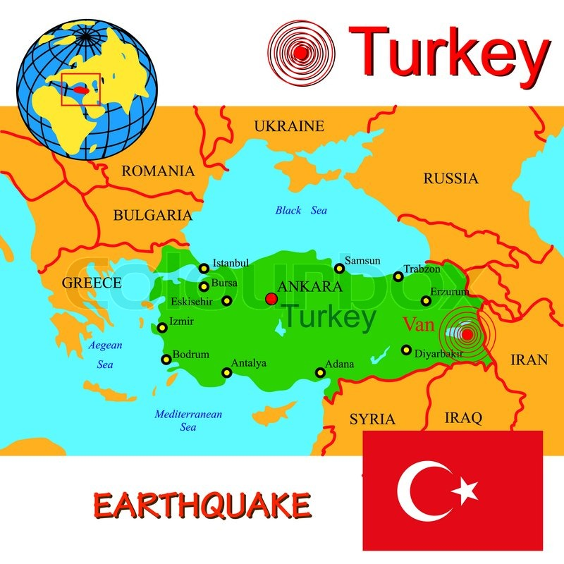 Turkey Map With Epicenter Earthquake Stock Image Colourbox