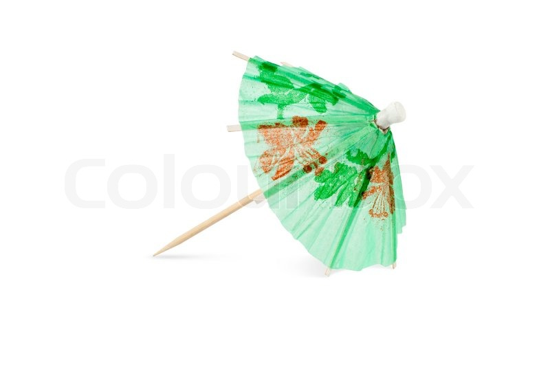 Green Paper Umbrella Used To Decorate A Drink