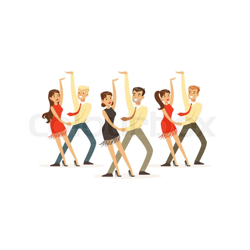 couples of smiling people dancing latin american dance theatrical rh colourbox com Animated Cartoon People Dancing Cartoon Old People Dancing