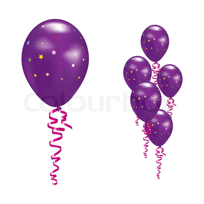 Violet Balloons With Stars And Ribbons Vector Illustration