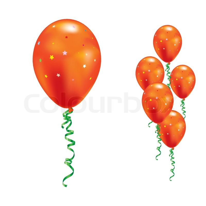 orange luftballons mit sternen und b ndern vector illustration vektorgrafik colourbox. Black Bedroom Furniture Sets. Home Design Ideas