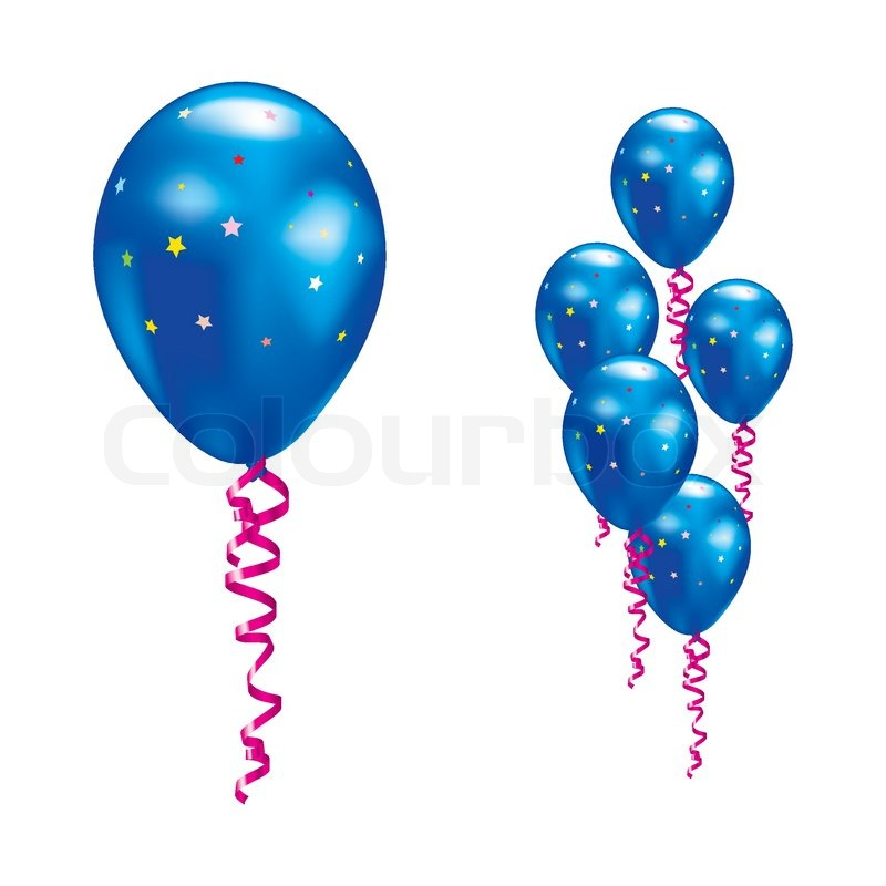 Navy balloons with stars and ribbons Vector illustration