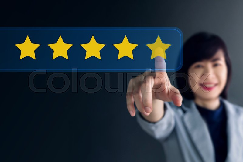 Customer Experience Concept, Happy Business Woman Pressing Five Star for Excellent Services Rating in Online Satisfaction Technology, stock photo