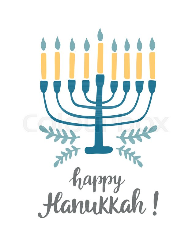 Happy hanukkah greeting card with hand written modern brush happy hanukkah greeting card with hand written modern brush lettering and menorah jewish holiday elegant banner template flyer poster label sticker m4hsunfo
