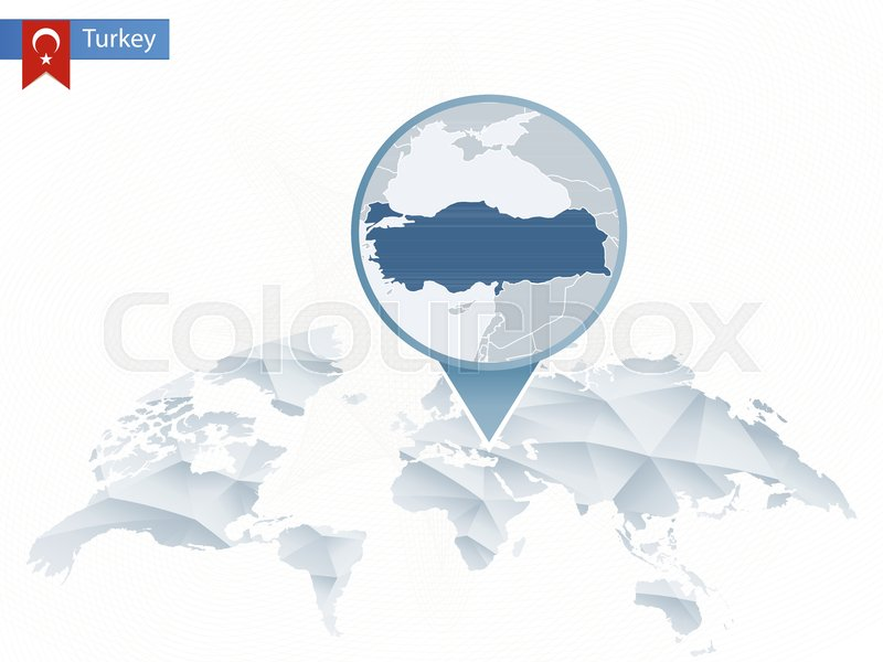 Abstract rounded World Map with pinned ... | Stock vector | Colourbox