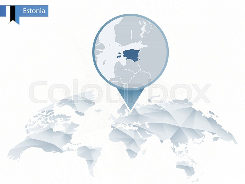 Abstract Rounded World Map With Pinned Stock Vector Colourbox