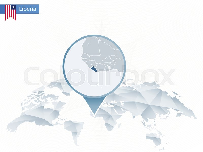 Abstract Rounded World Map With Pinned Detailed Liberia Map Vector