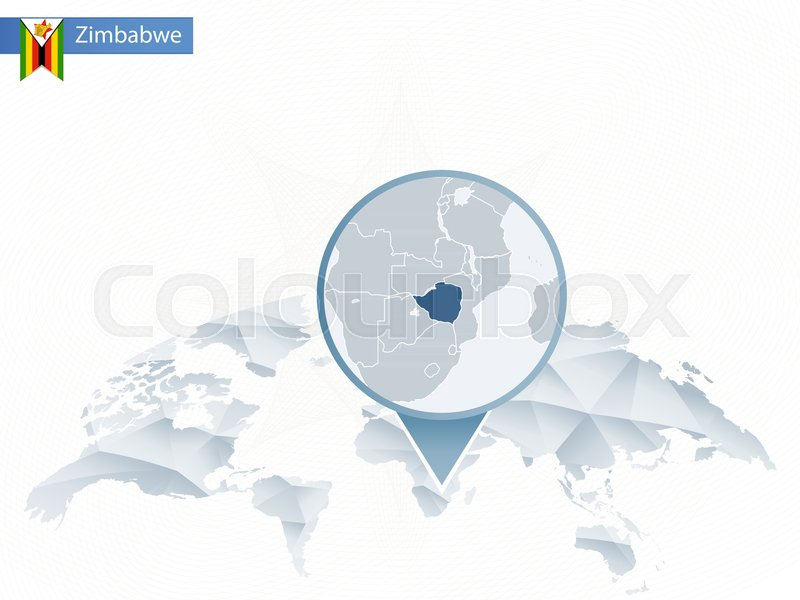 Abstract rounded world map with pinned detailed zimbabwe map vector abstract rounded world map with pinned detailed zimbabwe map vector illustration stock vector colourbox gumiabroncs Images