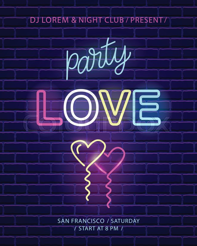 Love party neon emblem valentines day wedding banner template love party neon emblem valentines day wedding banner template invitation poster dark brick wall background electric light effect vector design element stopboris Choice Image