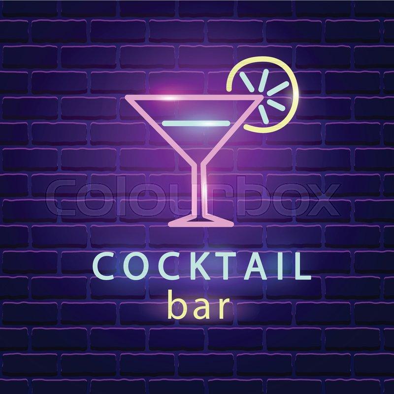 Cocktail bar neon logo bright emblem sign on dark brick wall cocktail bar neon logo bright emblem sign on dark brick wall background light banner signboard electric label design template aloadofball Gallery