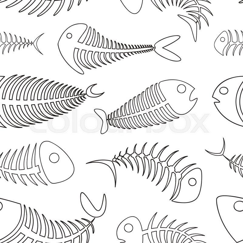 fishbone set pattern vector illustration eps 10 stock vector