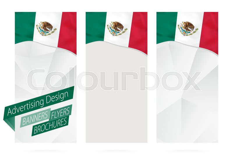 design of banners flyers brochures with flag of mexico leaflet template for website or printing vector illustration vector - Mexico Brochure Template