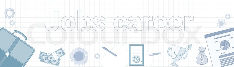 Jobs Career Word On Squared Background Horizontal Banner Personal
