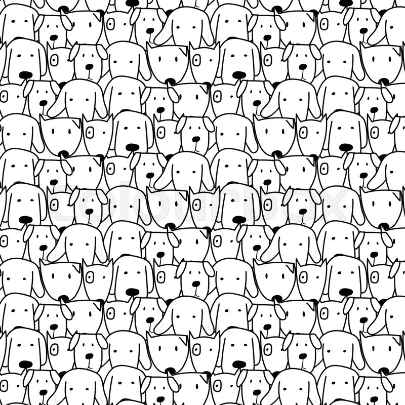 Hand Drawn Cute Dog Vector Pattern Doodle art Vector Illustration Cool Pattern Doodle
