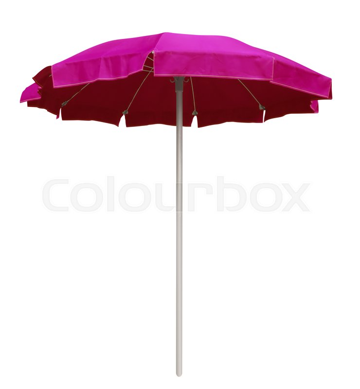 Pink Beach Umbrella Isolated On White Clipping Path Included Stock Photo