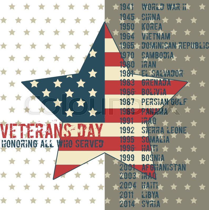 Veterans day greeting card template national american holiday veterans day greeting card template national american holiday vector illustration with usa patriotic elements honoring all who served festive poster m4hsunfo