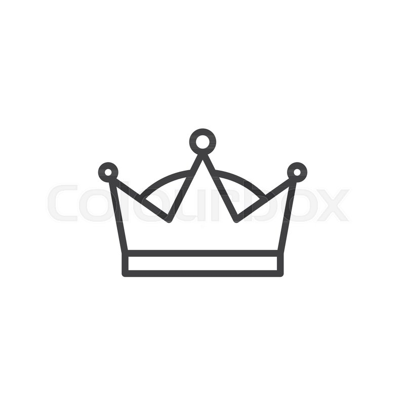 Queen Crown Line Icon Outline Vector Sign Linear Style Pictogram