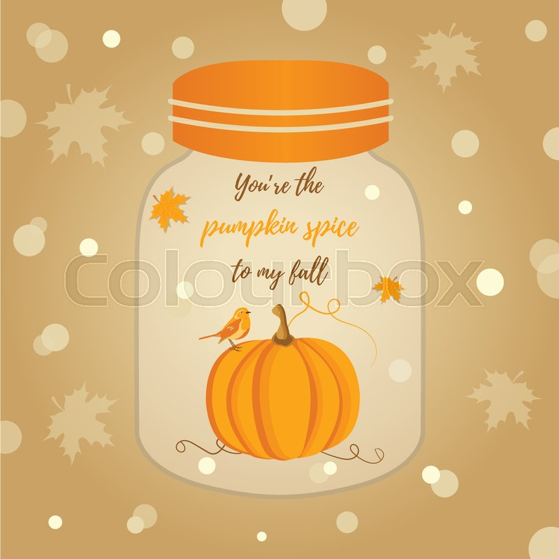 Holiday Thanksgiving background with pumpkin and text, vector