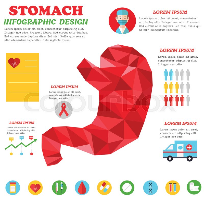 infographic poster with stomach illustration and medical icons