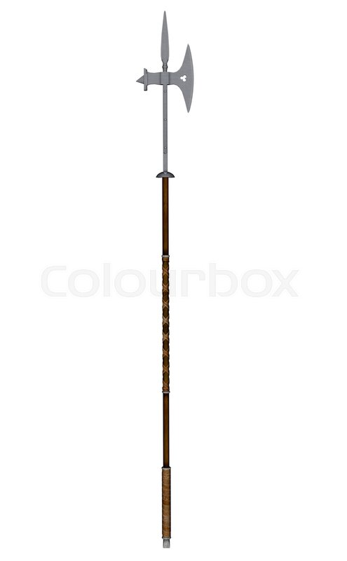 Pole axe weapon isolated in white     | Stock image | Colourbox