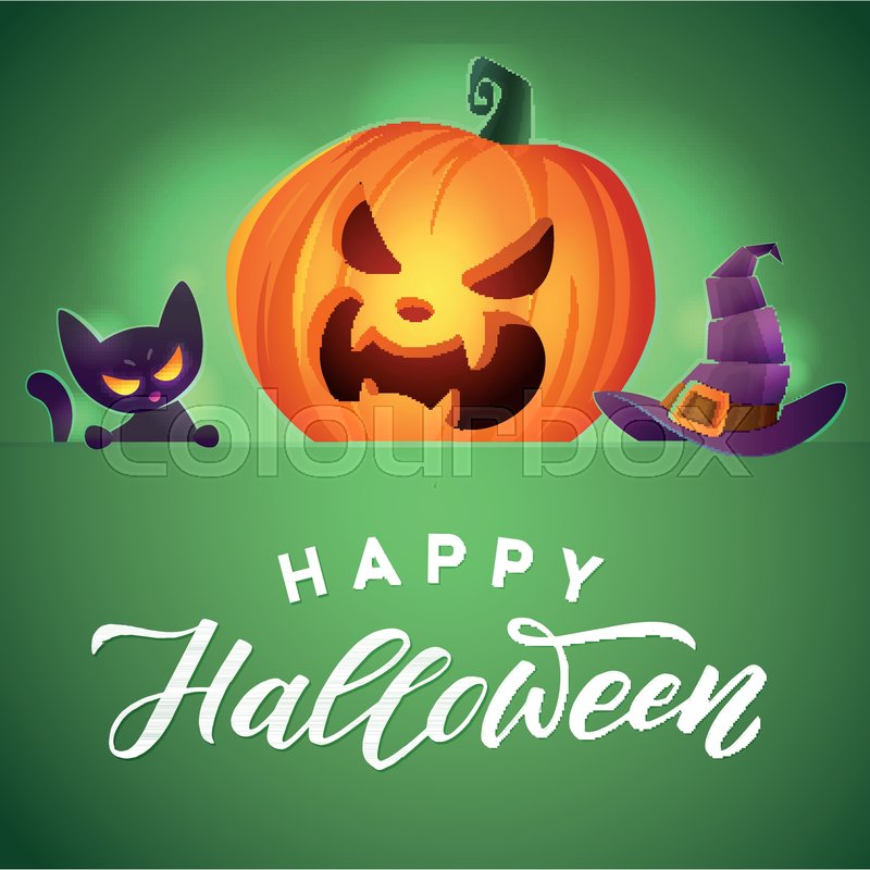 Happy Halloween. Vector Greeting Card. Angry Kitten. Scary Pumpkin And  Mystic Hat, Vector