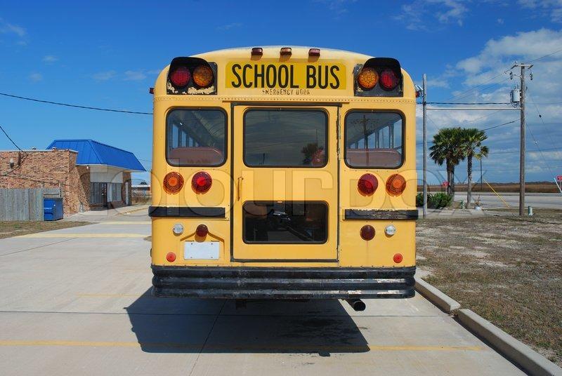 Yellow american school bus, stock photo