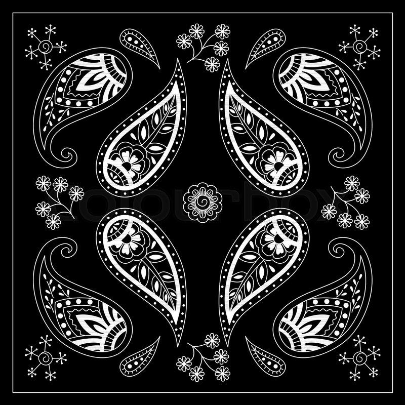 Black And White Bandana Print With Paisley Square Pattern Design Simple Bandana Pattern