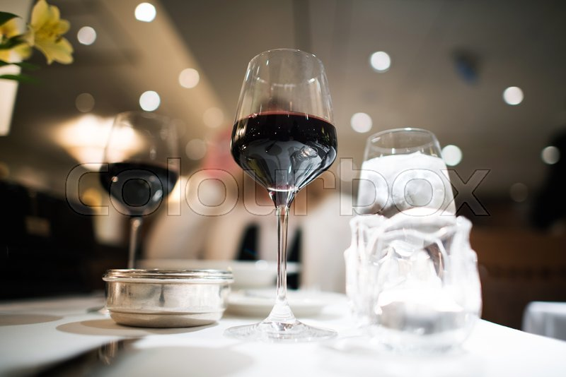 Fancy Dinner With Glass Of The Red Wine Restaurant Table Stock - Fancy restaurant table
