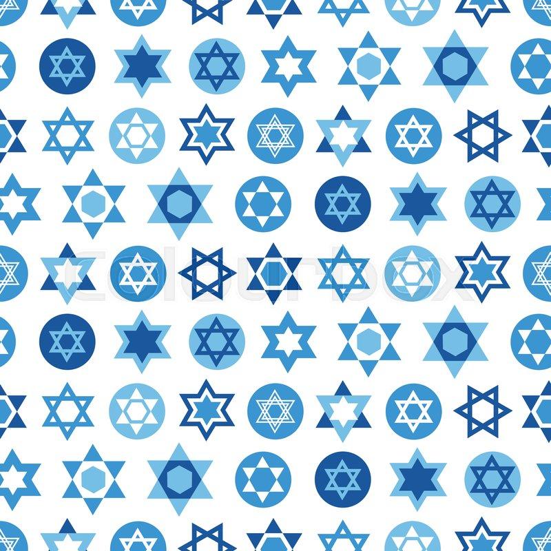 Blue Star Of David Symbols Collection Jewish Seamless Pattern