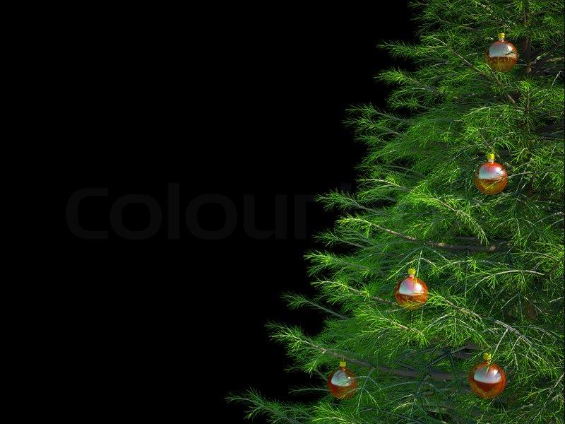Christmas Tree On A Black Background Stock Photo Colourbox