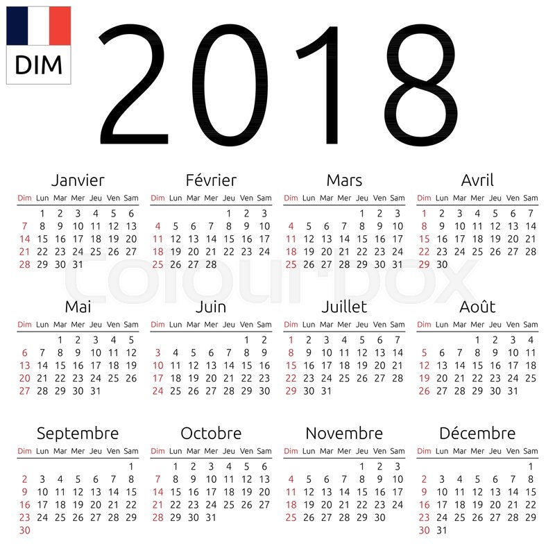 simple annual 2018 year wall calendar french language week starts on sunday canada sunday highlighted no holidays highlighted