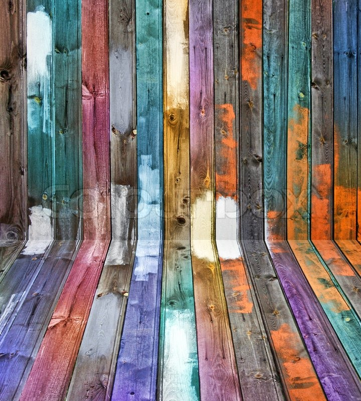 Color Wall Panels : Weathered old wooden floor and wall color panels