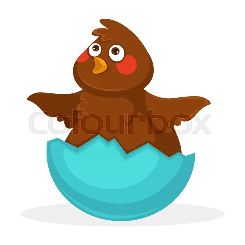 Cute plump baby bird with brown plumage, funny forelock, red cheeks ...