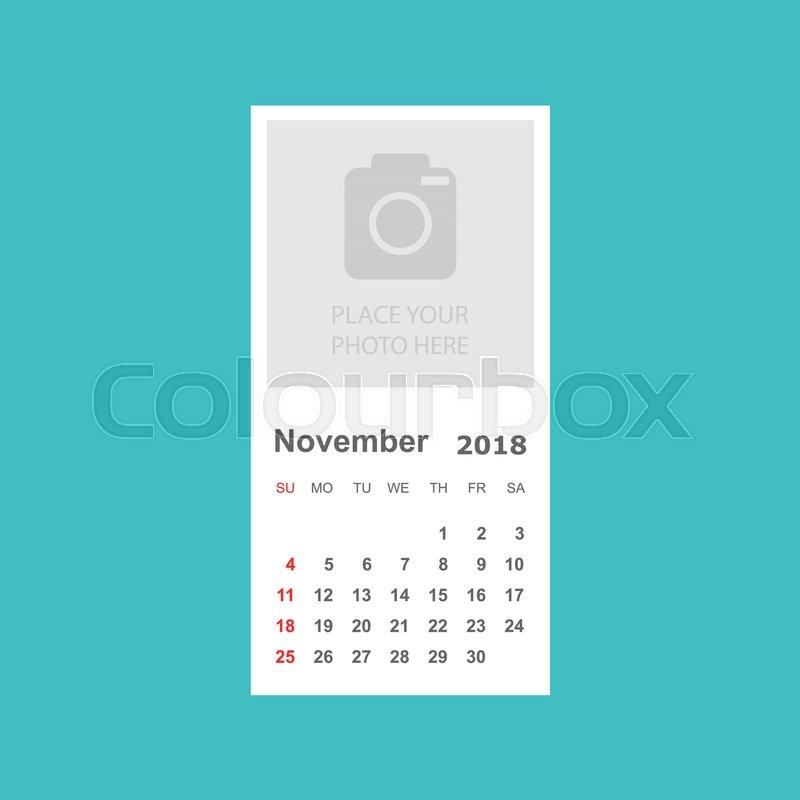 November 2018 Calendar Calendar Stock Vector Colourbox