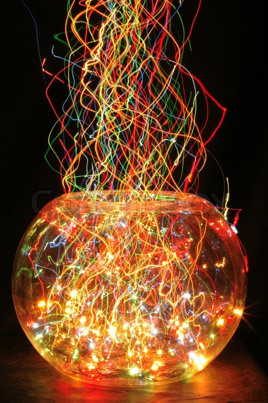 christmas glass sphere with color lights in the dark night stock photo colourbox - Sphere Christmas Lights