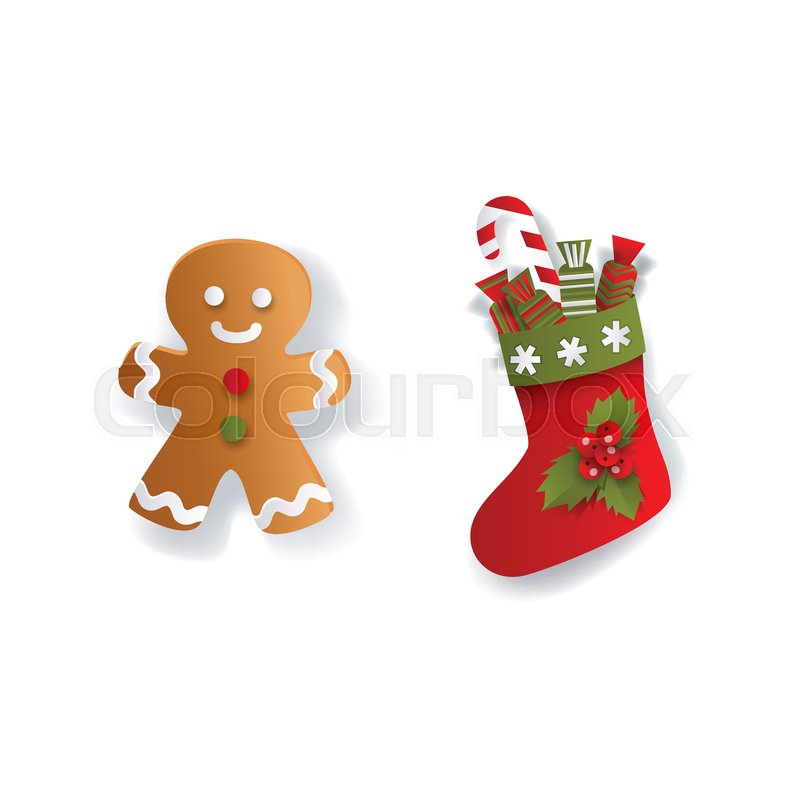 christmas stocking and gingerman gingerbread cookie xmas decoration elements flat vector illustration isolated on white background 3d paper cutout