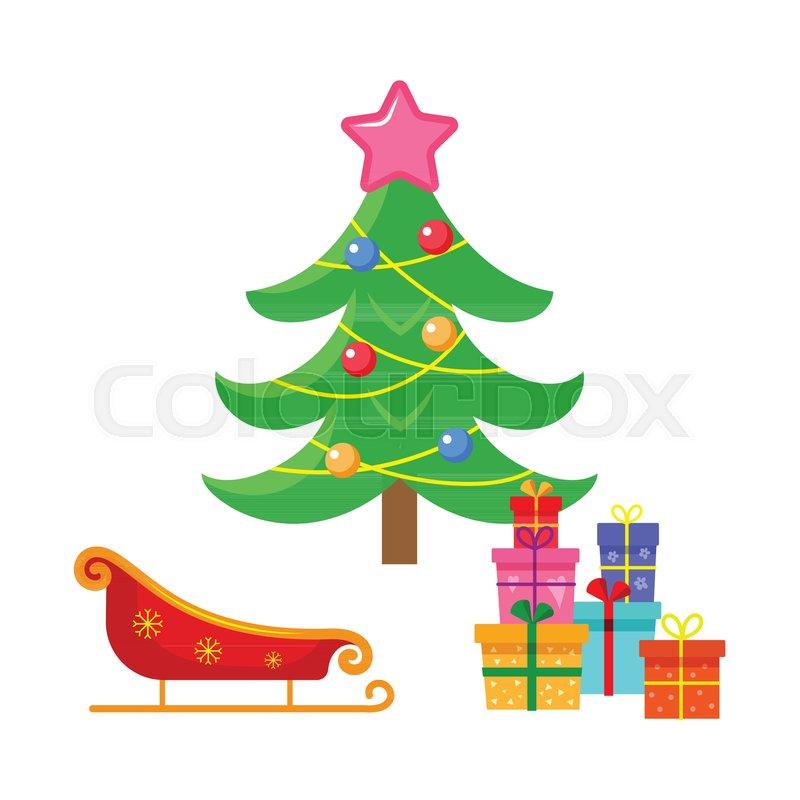 Vector Flat Cartoon Christmas Winter Holiday Symbols Set Decorated