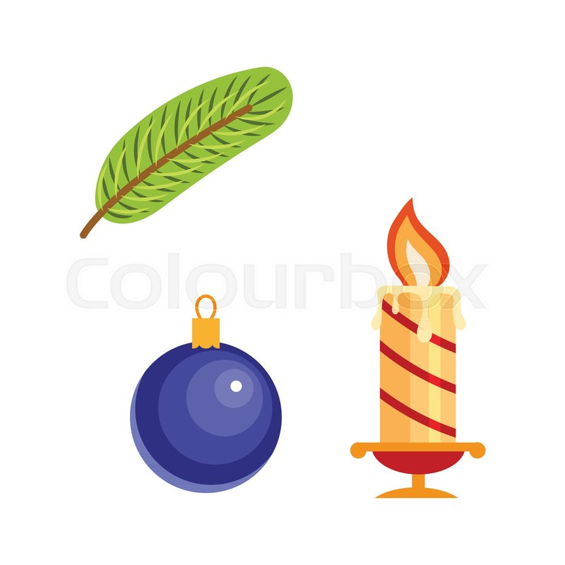 Vector Flat Christmas Winter Holiday Symbols Set Spruce Tree Branch