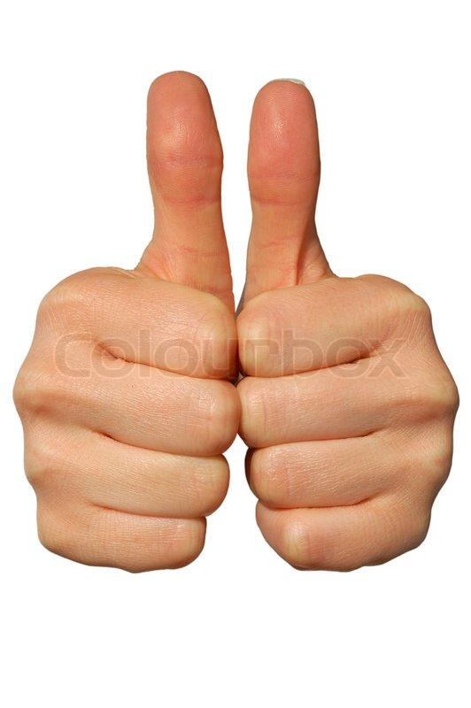 double thumbs up isolated on white background stock photo colourbox