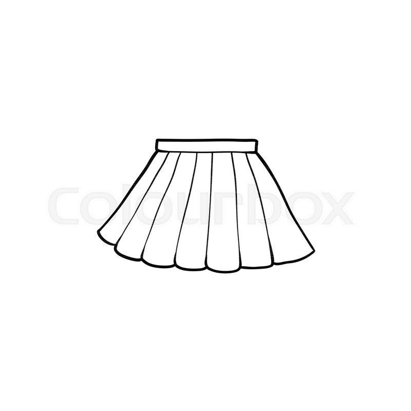 6a299d23ed Black and white drawing of pleated ... | Stock vector | Colourbox