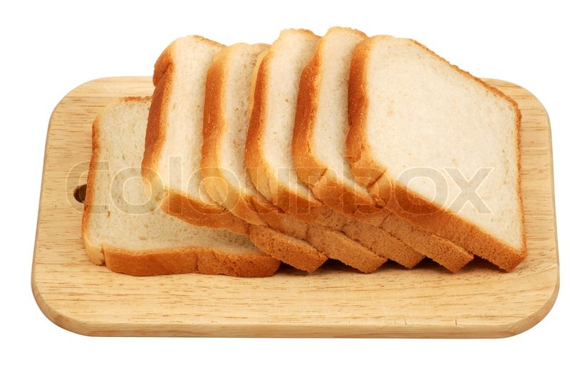 Toast Bread On A Cutting Board Isolated Stock Image