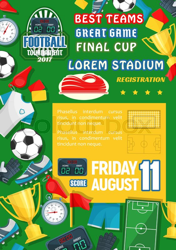 Soccer Goal Score Table Or Football Championship Poster Template Vector Design Of Ball On Stadium Arena Play Field Referee Stopwatch