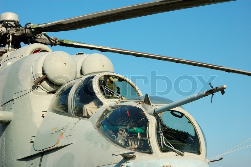 Stock image of 'Cockpit of the Russian Mi-24 Hind Helicopter'