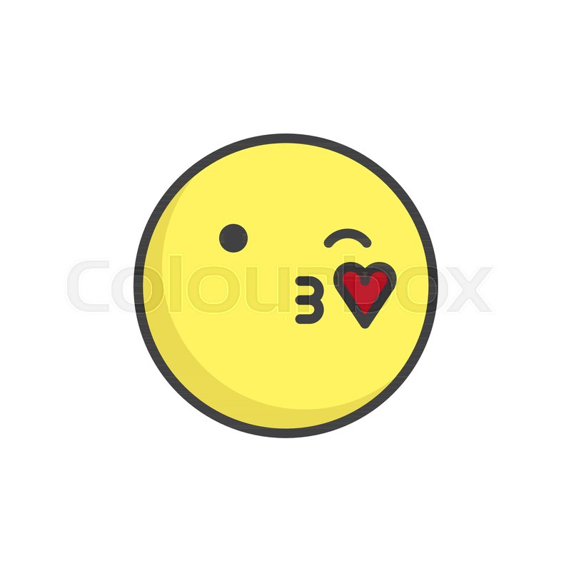 Blowing Kiss Face Emoticon Filled Outline Icon Line Vector Sign