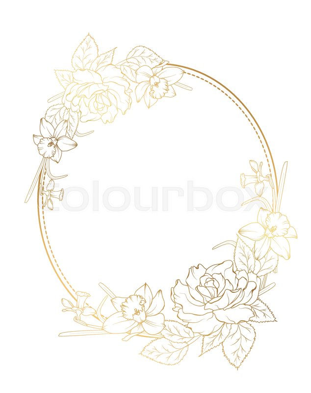 Oval border frame decorated with rose peony daffodil narcissus ...